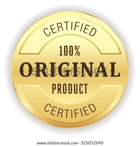 Gold original product button on white background - stock vector