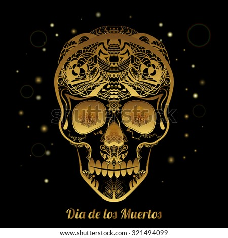 gold ornamental sugar skull dia de stock vector 321494099 shutterstock. Black Bedroom Furniture Sets. Home Design Ideas