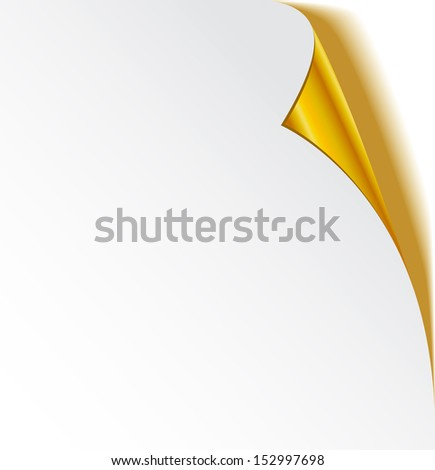 Gold page curl  - stock vector