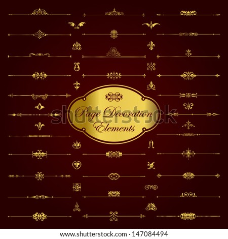 Gold page decoration elements - stock vector