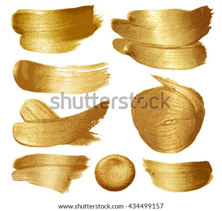 Gold paint set on white background. Vector illustration