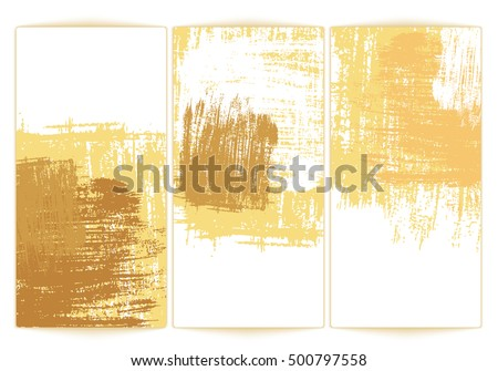 Gold Paper sheets on white background. Template backdrop for advertise. Vector illustration