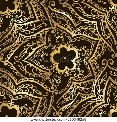 Gold pattern on dark background. Vector illustration - stock vector