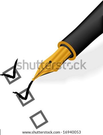 Gold Pen Check - stock vector