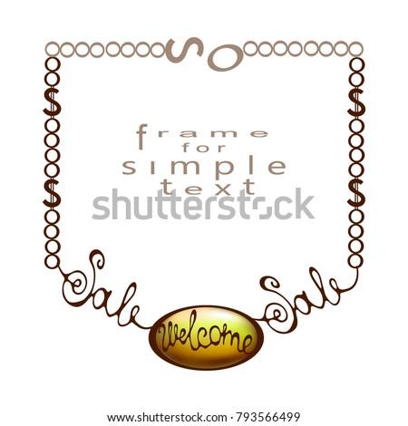 Gold Pendant On Chain Form Frame Stock Vector 793566499 - Shutterstock