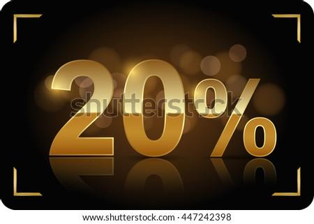 Gold 20 percent. Vector image. - stock vector