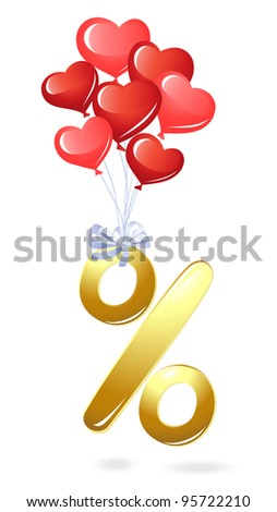 Gold percentage symbol with heart balloons - stock vector