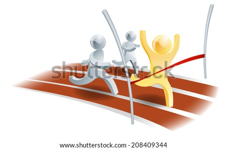 Gold person winning the race against two silver people. Competition or success concept - stock vector