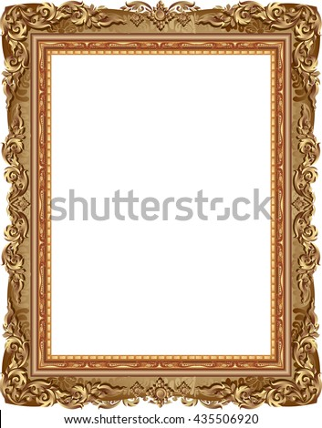 gold photo frame with corner, gold frame floral vector for picture and corner line thai style - stock vector