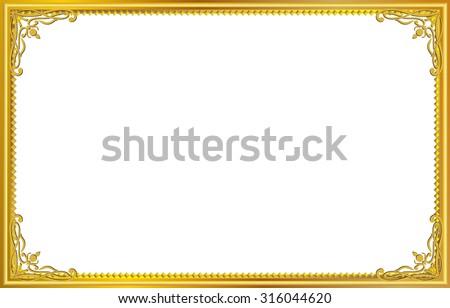 Gold photo frame with corner line floral for picture, Vector design decoration pattern style.frame floral border template illustration - stock vector