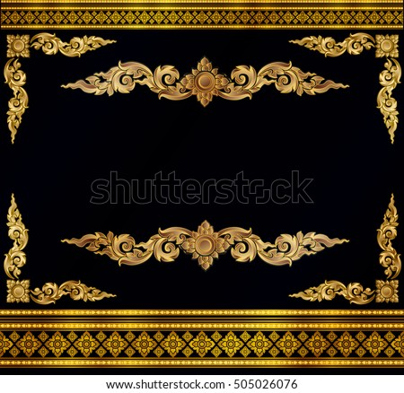 gold photo frame corner line floral stock vector 505026076