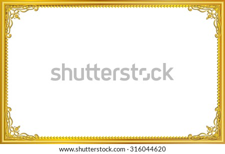 gold frame border png. Gold Photo Frame With Corner Thailand Line Floral For Picture, Vector Design Decoration Pattern Style Border Png F