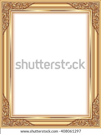 Gold photo frame with corner thailand line floral for picture, Vector design  decoration pattern style