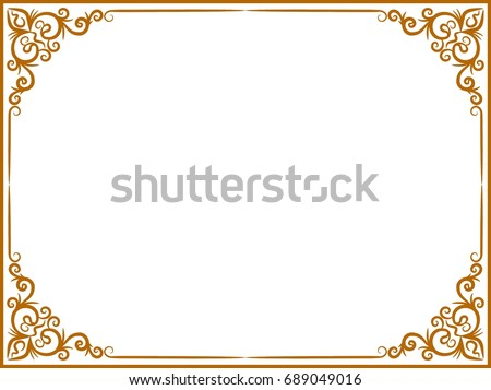 Gold Photo Frame With Thai Style Border Line Corners Decoration Wood Vector Design