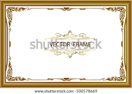 Gold Photo Frames Corner Thailand Line Stock Vector 500578669 ...