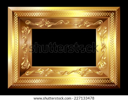 Gold picture frame. Eps8. CMYK. Organized by layers. Global colors. Gradients used. - stock vector
