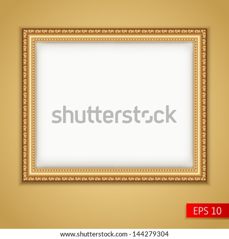 Gold picture frame. Vector - stock vector