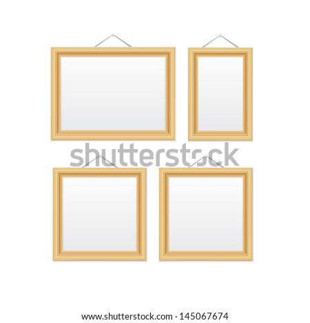 Gold picture frames. Isolated on white EPS10 vector illustration. - stock vector