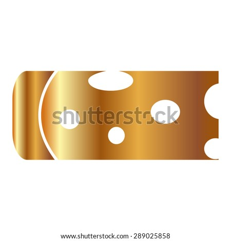 Gold Piece of cheese isolated