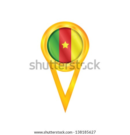 Gold pin with the national flag of Cameroon