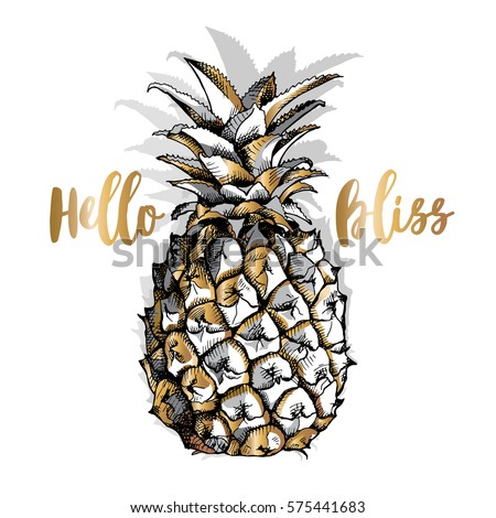 Gold Pineapple fruit on a white background. Vector illustration.
