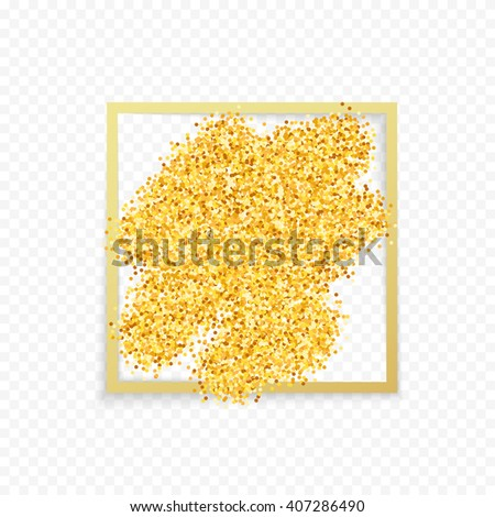 Gold placer glitters. Metal handful  dust sand.