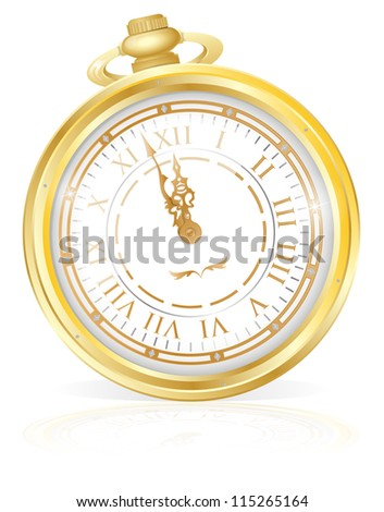 Gold Pocket Watch - stock vector