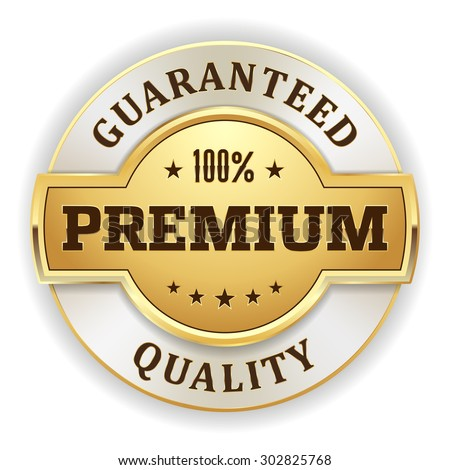 Gold premium quality badge on white background - stock vector