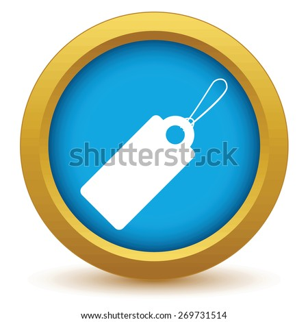 Gold price tag icon on a white background. Vector illustration - stock vector