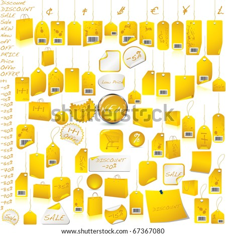Gold price tag label set isolated on white VECTOR - stock vector