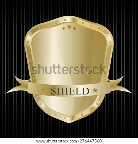 Gold protection shield with ribbon - stock vector