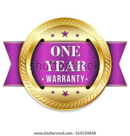 Gold purple one year warranty badge with ribbon - stock vector