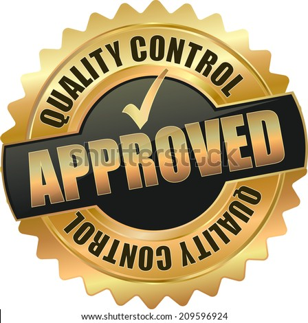 gold quality control approved sign - stock vector