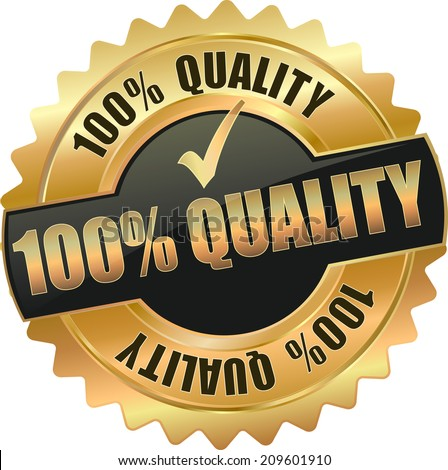 gold 100% quality sign - stock vector