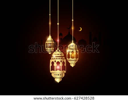 Gold Ramadan Fanous Lantern with Glowing Lights in the Dark for Ramadan Background. Vector Illustration eps.10