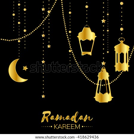 Gold ramadan kareem celebration greeting card stock vector royalty gold ramadan kareem celebration greeting card hanging arabic lamps stars and crescent moon m4hsunfo