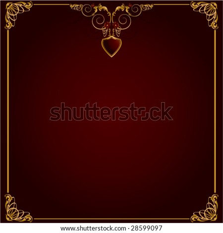 Gold red frame background 3 - vector