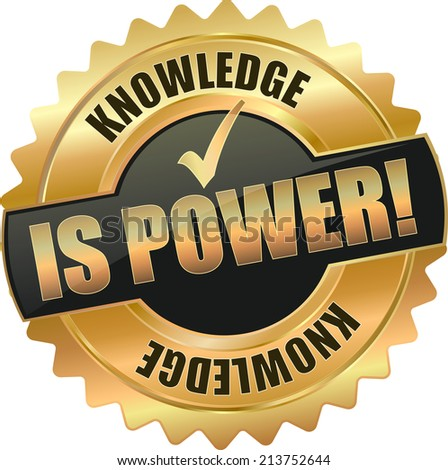 gold retro knowledge is power sign  - stock vector