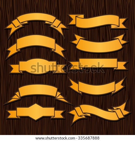 Gold retro ribbons and labels on wooden background. Vector illustration.