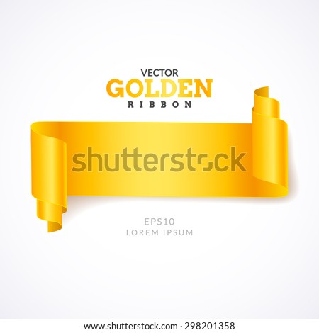 Gold ribbon. Creative gold ribbon on light background. Realistic Curling ribbon. - stock vector