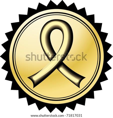 Gold Ribbon Illustration - stock vector