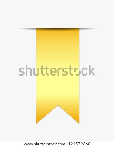 Gold ribbon promotional out of white paper - stock vector