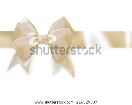 Gold ribbon with bow isolated on white. EPS 10 vector file included