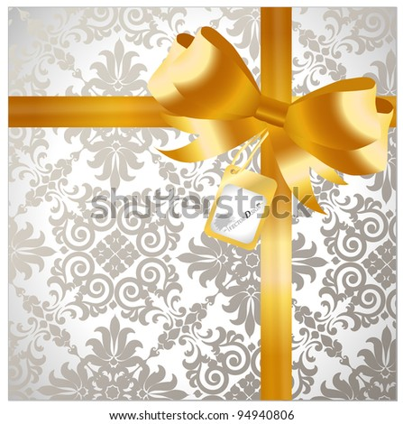 Gold ribbon with luxury background - Gift for a lover. Vector illustration. - stock vector