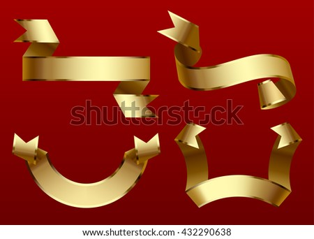 Gold ribbons set isolated on dark red background. Vector illustration - stock vector