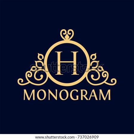 Gold Ring Monogram Logo Template Restaurant Stock Vector