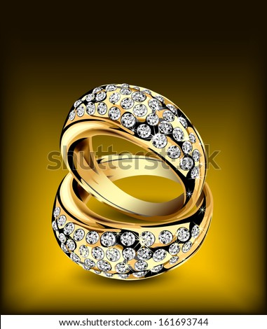 Gold rings with some diamonds. Vector illustration - stock vector