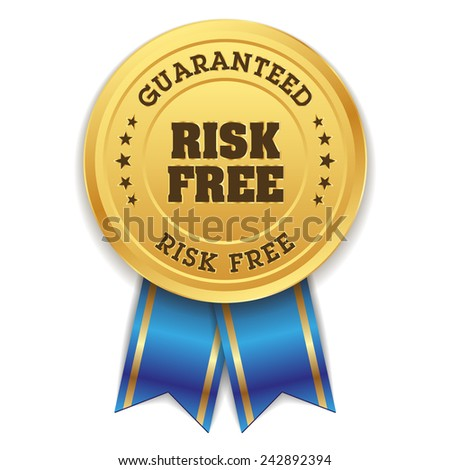 Gold risk free badge with blue ribbon on white background - stock vector