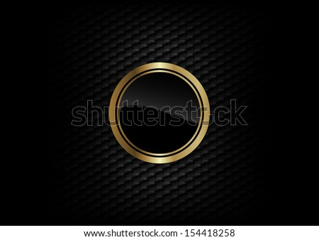 gold round on the dark background - stock vector