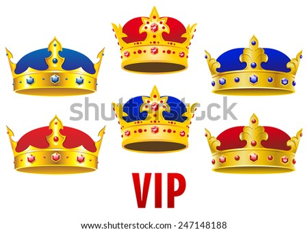 Gold royal crowns inlaid colorful jewels with red and blue velvet in cartoon style for historical concept and heraldry design - stock vector